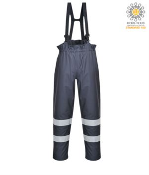 Waterproof multipro lined trousers, adjustable straps with buckle closure, double band at the bottom of the leg, certified EN 343:2008, UNI EN 20471:2013, EN 1149-5, EN 13034, UNI EN 14116:2008, colour navy blue