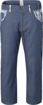 Chef trousers, elasticated waist, button fly, two front pockets, two back pockets, denim colour