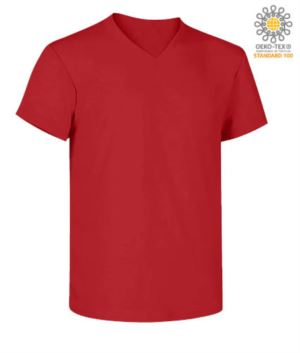 V-neck short-sleeved T-shirt in cotton. Colour red