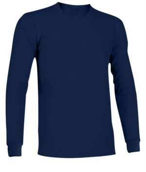 Long-sleeved, fire-retardant and antistatic T-shirt with elasticated crew neck and cuffs, Navy Blue colour. Certified EN 1149-5, EN 11612:2009
