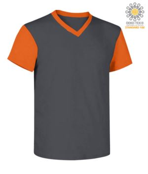 V-neck, two-tone work shirt with contrasting collar and sleeves.  Colour gery/orange