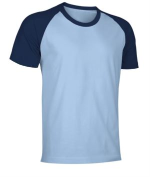 Two-tone jersey short-sleeved work shirt in light blue and navy blue