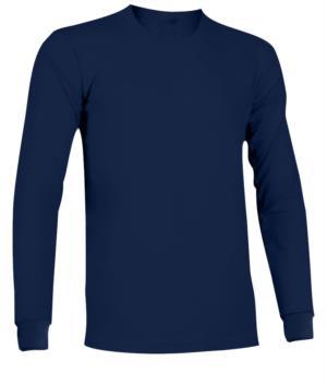 T-Shirt a manica lunga ignifuga e antistatica, girocollo e polsini elasticizzati, colore Blu Navy. Certificata EN 1149-5, EN 11612:2009