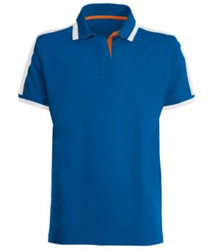 Technical short sleeve work polo shirt with contrasting color inserts on the neck, armholes and shoulders; Royal Blue, white and orange