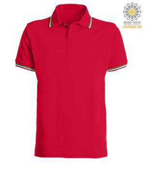 Shortsleeved polo shirt with italian piping on collar and cuffs, in cotton. red colour