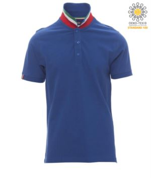Short sleeve cotton pique polo shirt, contrasting three color collar visible on raised collar. Colour Royal blue / Italy