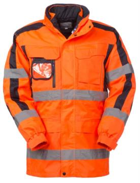 Triple use jacket: waterproof outer, padded inner jacket with removable sleeves with the possibility of separate use. Double band on waist and sleeves, contrasting details on the sleeves. EN 343 and EN 20471 certified, colour orange