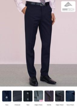 Elegant slim fit men trousers, two welt pockets, wool, polyester and lycra fabric with stain-resistant treatment. Get a free quote.
