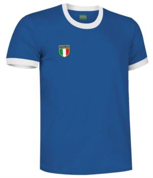 T-Shirt mezza manica con colletto e fondo manica in contrasto, tricolore manica nel fondo manica