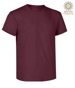 T-Shirt da lavoro maniche corte, vestibilità regular fit, girocollo, certificata OEKO-TEX. Colore burgundy