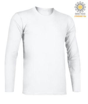T-Shirt a manica lunga, girocollo, 100% Cotone, colore bianco