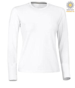 T-shirt girocollo manica lunga donna in cotone. Colore bianco
