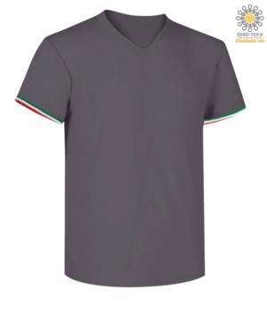 T-shirt manica corta uomo con dettaglio tricolore su fondo manica in cotone, colore grigio scuro