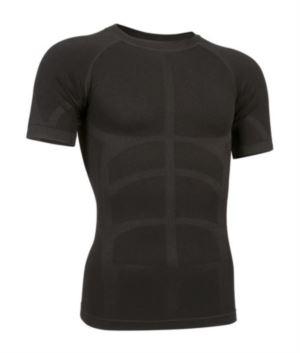 T-Shirt termica a maniche corte second skin, girocollo, traspirante di colore nero