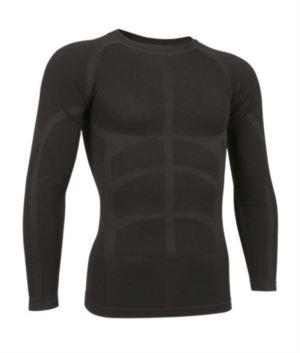 T-shirt termica a manica lunga in tessuto second skin, girocollo, traspirante a fibra cava, colore nero
