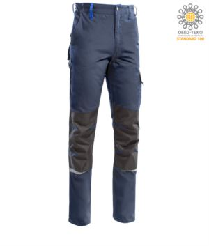 Two tone multi pocket trousers, refractive piping below the knee. Color Blue/Blue Royal