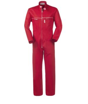 100% Cotton full length workwear with zip closure and Korean collar. Mouse tail on the chest, two chest pockets, color red