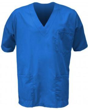 Unisex hospital jacket, V-neck, short sleeves, left chest pocket and applied right front pocket, color bluette