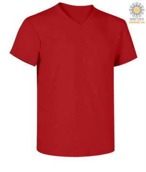 Short sleeve V-neck T-shirt, color red
