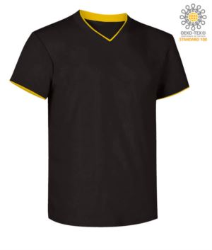 T-Shirt short sleeve V-neck, inner collar and bottom sleeve in contrast, color black & yellow