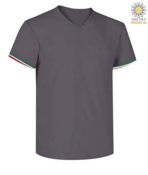 Short-sleeved T-shirt, V-neck, Italian tricolour on the bottom sleeve, color dark  grey