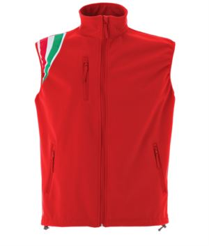 Red polyester waterproof and breathable soft shell vest