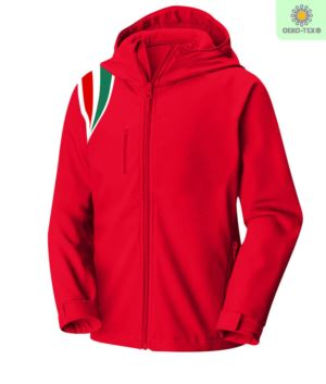 Waterproof and breathable softshell jacket, detachable sleeves, detachable hood with zip, three-color pattern on the shoulder, two external pockets with zip, color red
