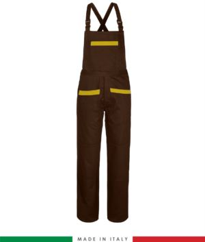 Two tone dungarees. Possibility of personalized production. Made in Italy. Multipockets. Color: brown/yellow