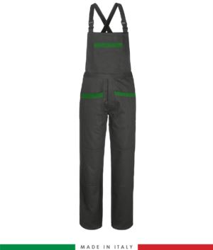 Two tone dungarees. Possibility of personalized production. Made in Italy. Multipockets. Color: grey/green