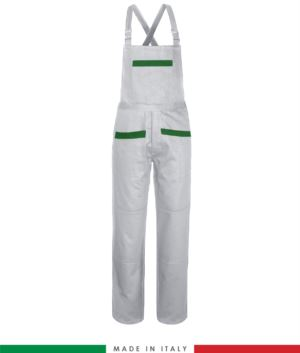 Two tone dungarees. Possibility of personalized production. Made in Italy. Multipockets. Color: white/bright green