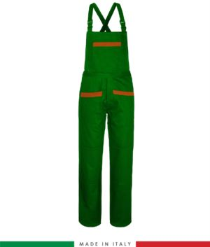 Two tone dungarees. Possibility of personalized production. Made in Italy. Multipockets. Color: bright green/orange