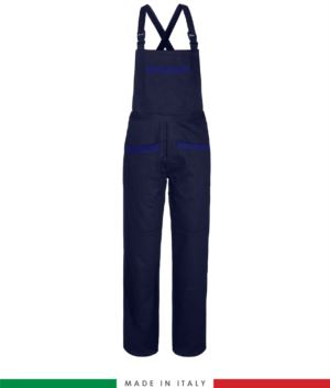 Two tone dungarees. Possibility of personalized production. Made in Italy. Multipockets. Color: navy blue/royal blue