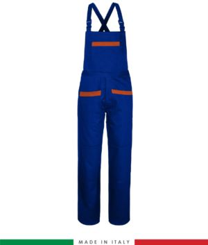 Two tone work dungarees. Possibility of personalized production. Made in Italy. Multipockets. Color: Royal blue/orange