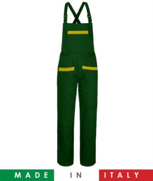 Two tone dungarees. Possibility of personalized production. Made in Italy. Multipockets. Color: bottle green/yellow