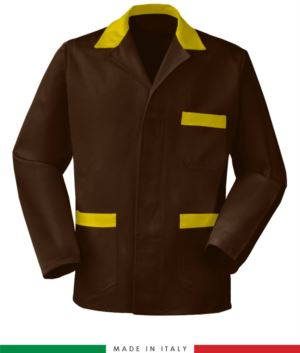 brown / yellow work jacket, made in Italy, 100% cotton massaua with two pockets