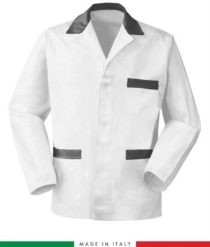 white work jacket with grey inserts, polyester fabric and cotton