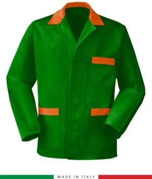 green work jacket with orange inserts, polyester and cotton fabric