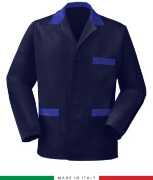 blue work jacket with royal blue inserts, polyester fabric and cotton
