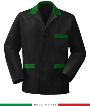 black work jacket with green inserts, polyester fabric and cotton