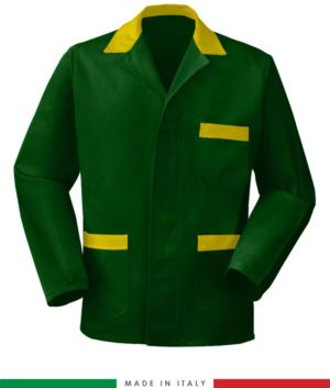 green work jacket with yellow inserts made in Italy, 100% cotton massaua and two pockets