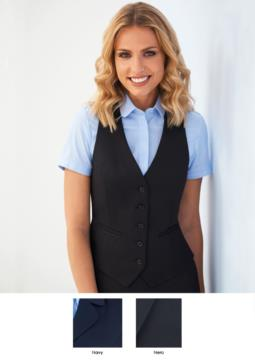 Women's vest with five button closure and two pockets. Available in black and navy blue. 100% polyester.