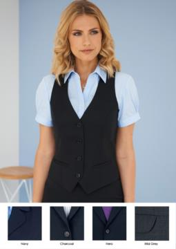 Women's vest with four button closure and two side pockets.
