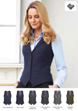 Women's vest with four button closure and two slanted pockets. Teflon stain-resistant fabric.