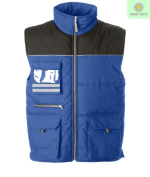 Multi pocket work vest, two tone padded fabric, polyester and cotton. Color: royal blue and black