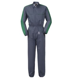 Two-tone full length workwear, with Korean collar, elasticated waist and colour inserts on shoulders and sleeves, multi-pocket, colour grey and green