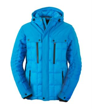 Softshell jacket with hood, zip closure, rainproof, reflective profiles on front, back and along the sleeves. Colour: blue water