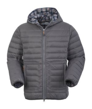 Padded nylon jacket, with double slider zipper and reflective profile; fixed hood, reflective insert under the hood. Colour: Grey