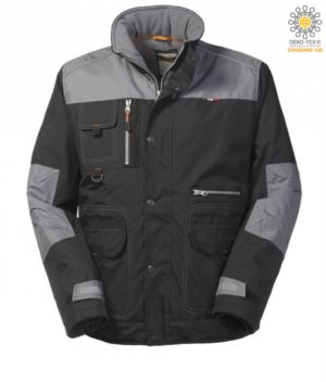 Padded multi pocket jacket in ripstop two-tone, removable hood, mobile phone pocket. Black and grey colour