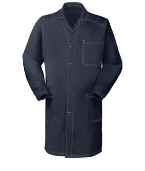blue work coat with covered buttons and non-shrink cotton