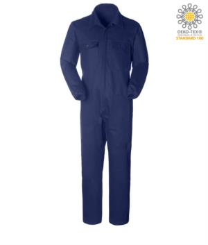 Overalls, multi-pocket shirt collar, zip closure covered, elastic at the wrists, color blue